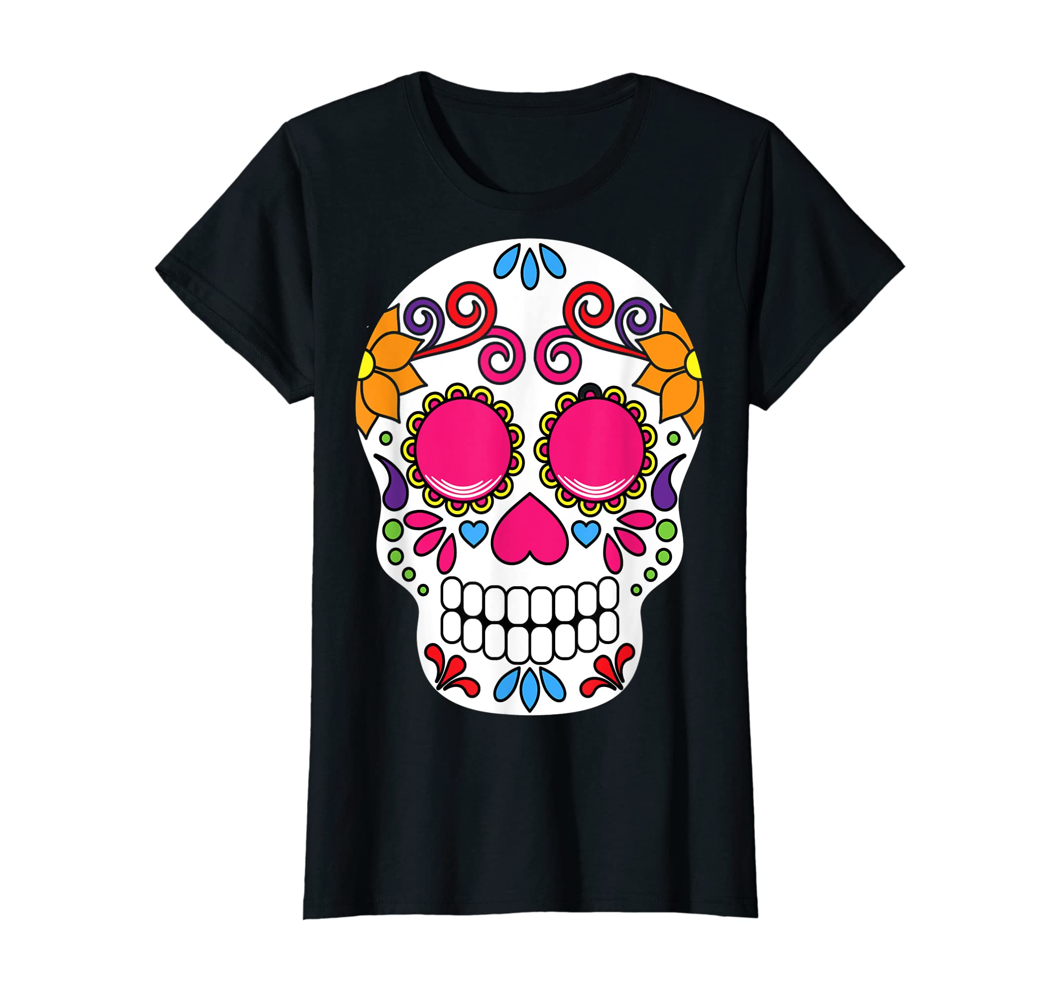 Colorful Day Of The Dead Sugar Skull Halloween T-shirt-Women's T-Shirt-Black