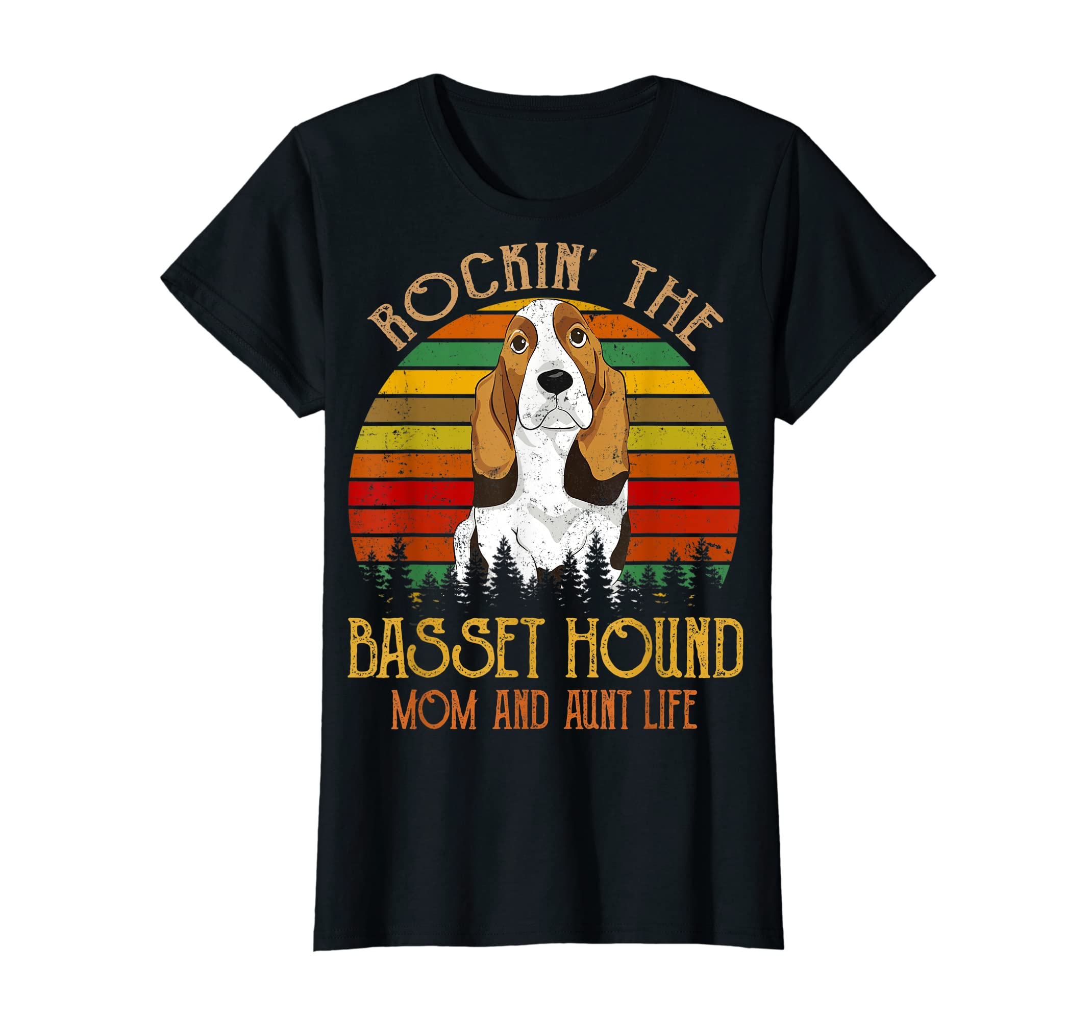 Rockin' The Basset Hound Mom Aunt Life T-Shirt For Women T-Shirt-Women's T-Shirt-Black