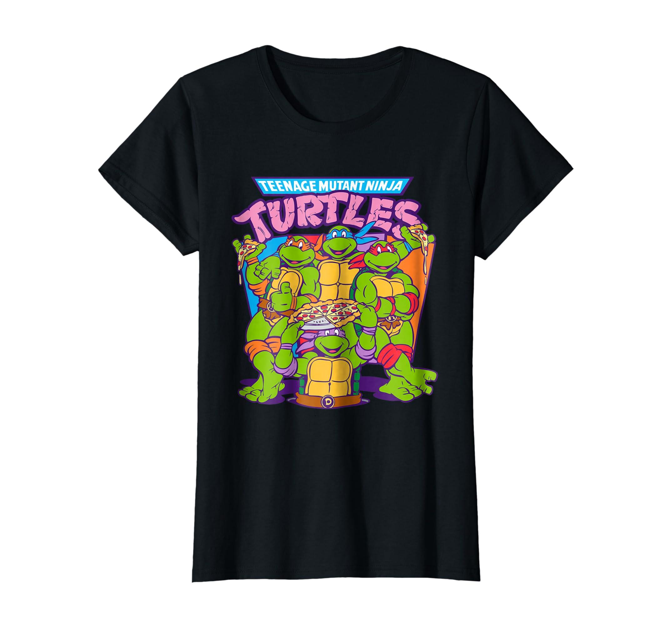 7796a84ad Amazon.com: Teenage Mutant Ninja Turtles Pizza & Smiles T-Shirt: Clothing