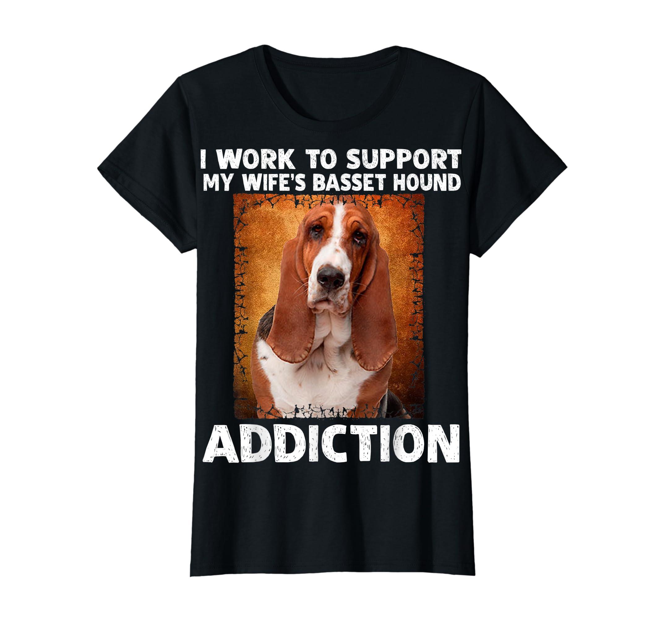 I Support My Wife Basset Hound Addiction T-Shirt-Women's T-Shirt-Black