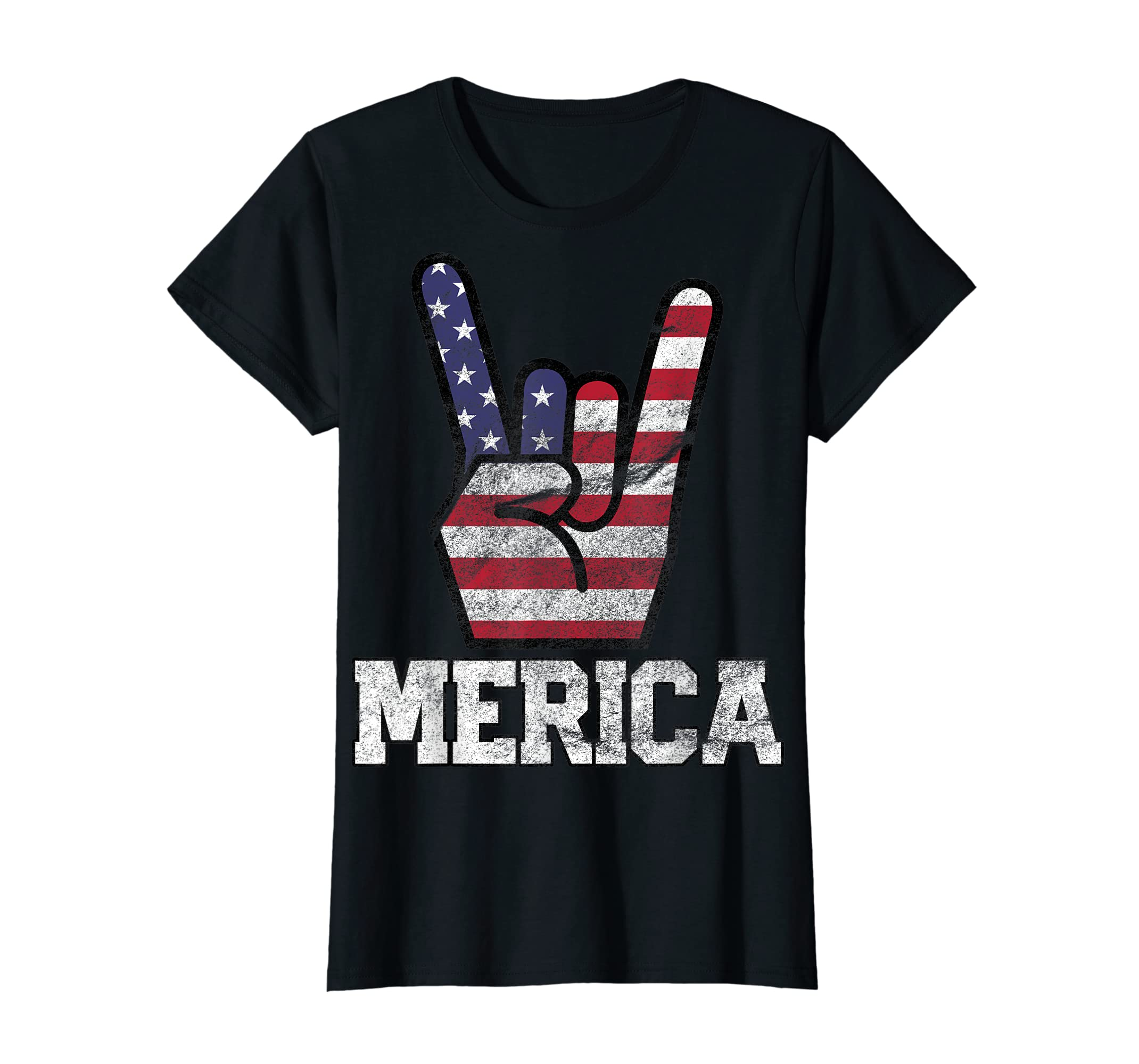 Merica Rock Sign 4th of July Vintage American Flag Retro USA T-Shirt-Women's T-Shirt-Black