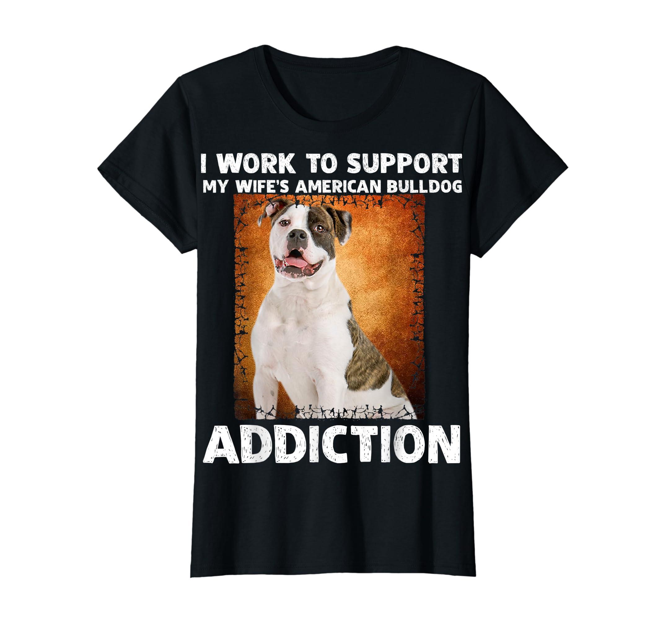 I Support My Wife American bulldog Addiction T-Shirt-Women's T-Shirt-Black