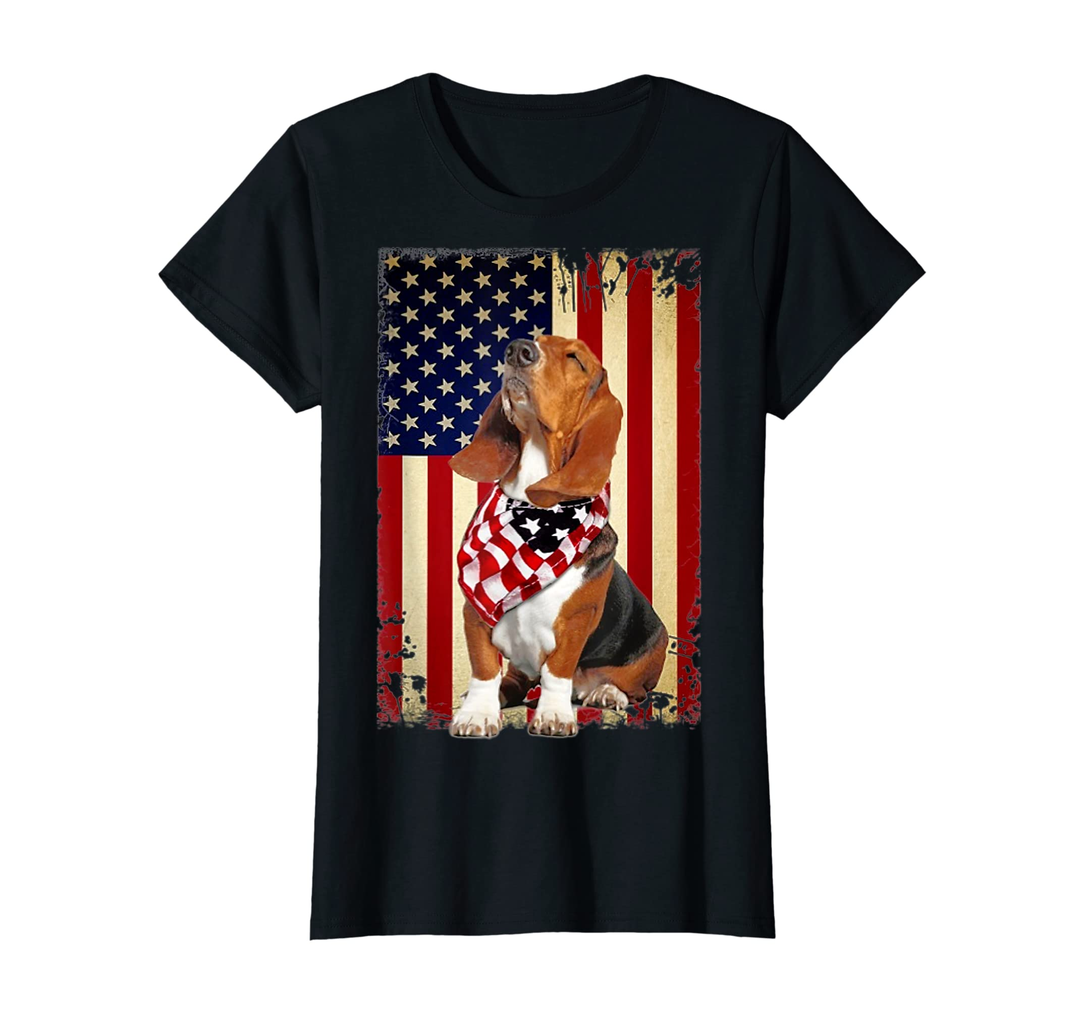 Basset hound smile flag American t-shirt Independence 4th of-Women's T-Shirt-Black