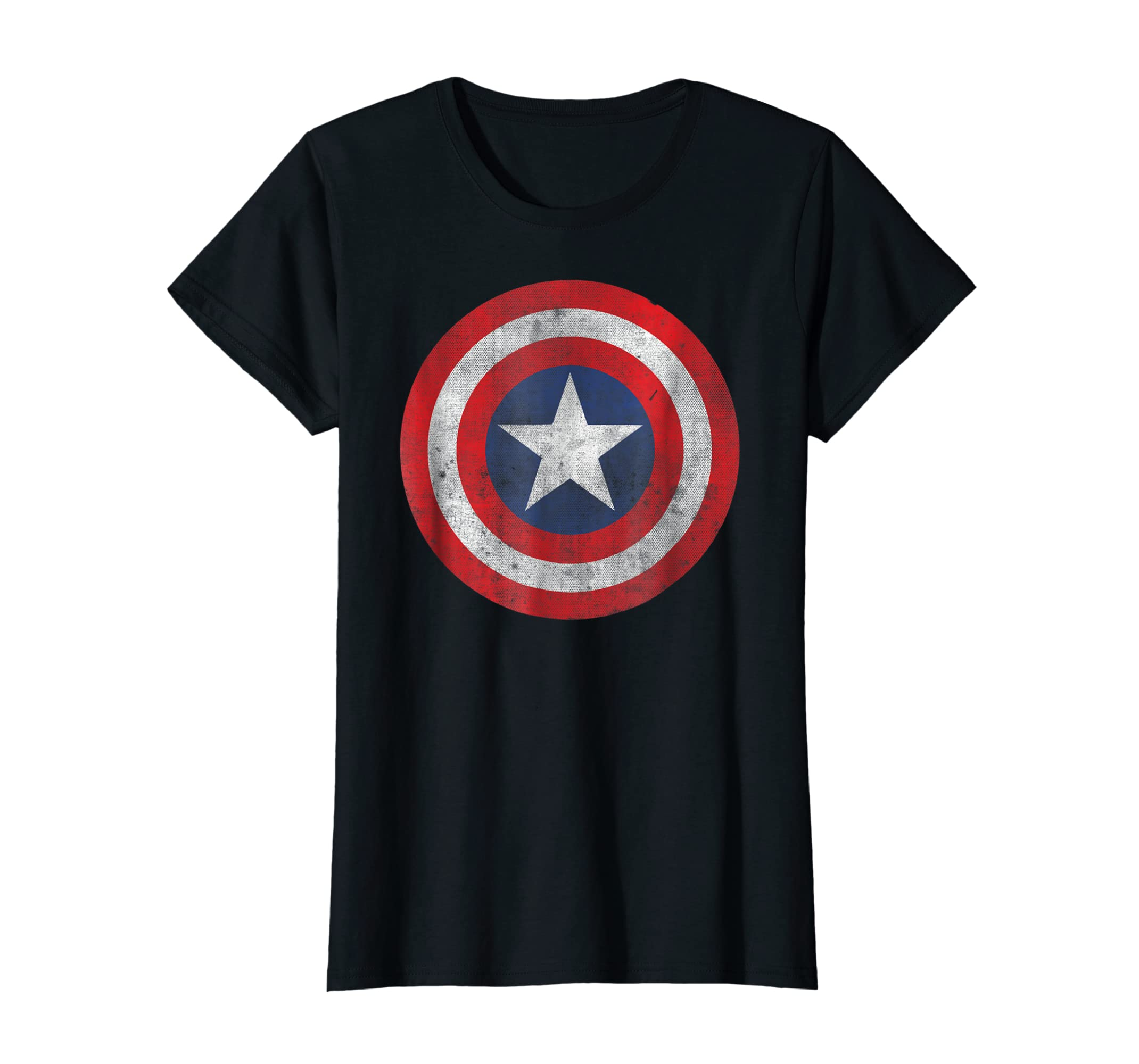 Marvel Captain America Classic Shield Graphic T-Shirt-Women's T-Shirt-Black