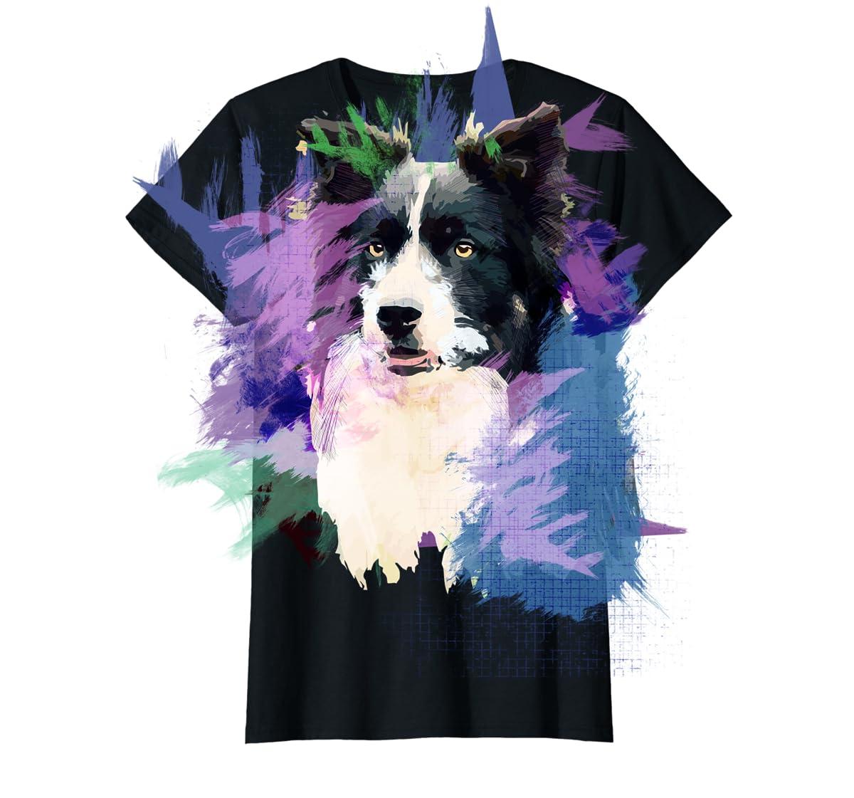 Border Collie T-Shirt Splash Art Dog Owner Gift Tee Shirt-Women's T-Shirt-Black