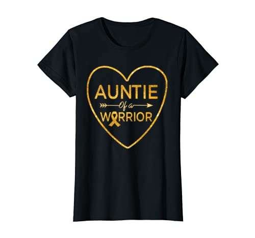 Womens Auntie Of A Warrior Childhood Cancer Awareness Costume Gift T Shirt