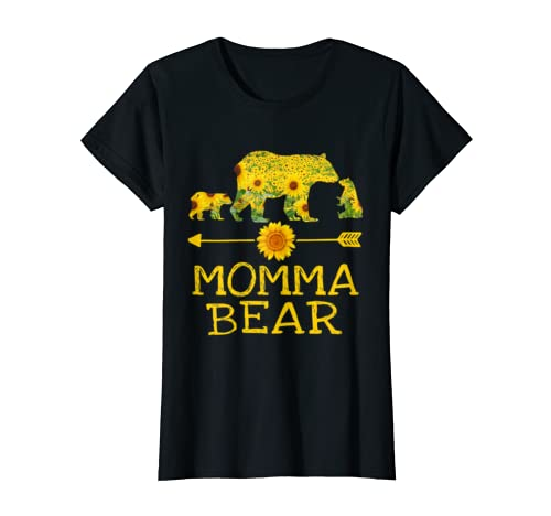 Womens Momma Bear Sunflower With Two Cubs Mother's Day Gift