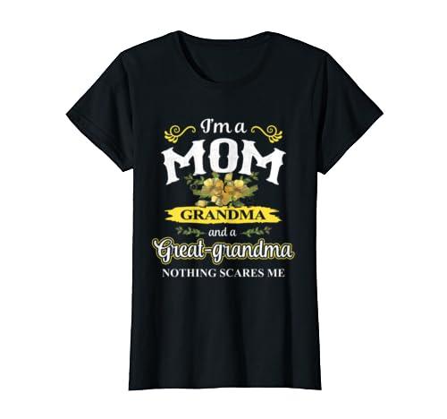 Womens Mother's Day Tee I Am A Mom, Grandma And Great-grandma Shirt