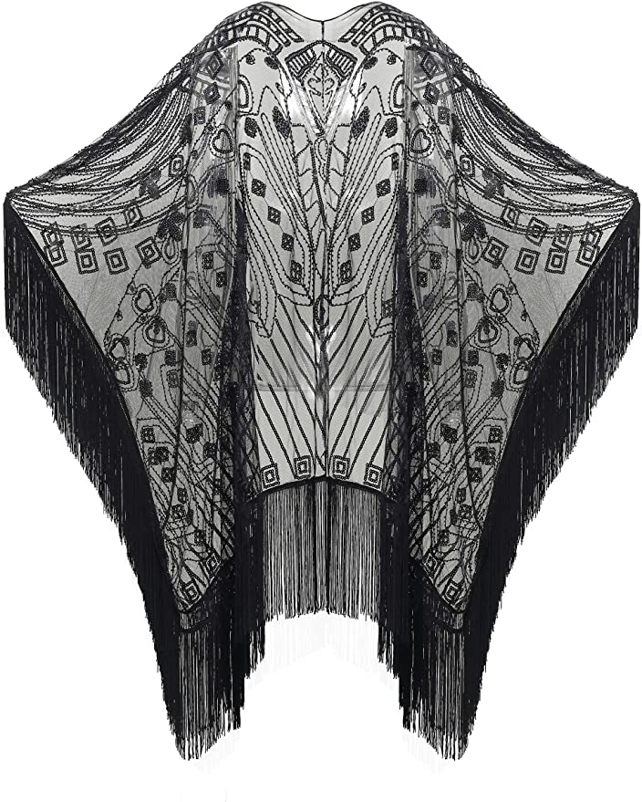 1920s Shawls, Scarves and Evening Jacket Tips BABEYOND 1920s Sequin Beaded Shawl Wraps Fringed Evening Cape Scarf for Wedding  AT vintagedancer.com