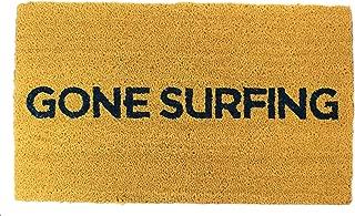 Gone Surfing Coir Doormat 18 x 30 Inch Outdoor/Indoor Extra Thick Door Mat Vinyl Rubber Backing, Dark Navy Print, for All Weather & Seasons, Dog Durable, Trademarked Design