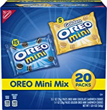 OREO Mini Sandwich Cookies, Assorted Flavors, 20 Snack Packs (15 Chocolate Minis, 5 Golden Minis)