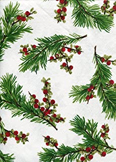 Ralph Lauren Cedarberry White Holiday Tablecloth, 60-by-84 Inch Oblong Rectangular
