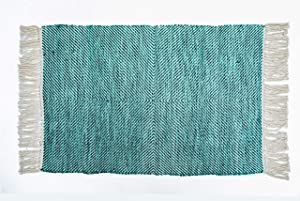 CHARDIN HOME 2x3 Teal Blue Rug   Modern Farmhouse Indoor/Outdoor Area Rug   Easy to Clean Multipurpose Rug