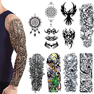 Extra Large Temporary Tattoos Full Arm Half Arm Temporary Tattoo Waterproof Removable Body Stickers Non-Toxic 10 Sheets For Men Women Durable Perfect Accessories