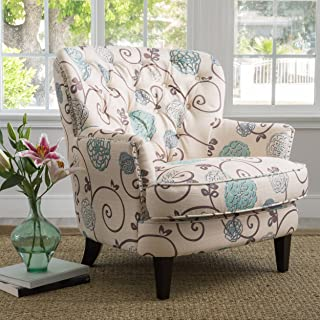 Christopher Knight Home Tafton Arm Chair, White + Blue