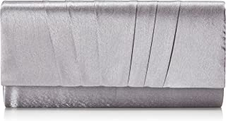 Damara Womens Satin Pleated Clutch Bag Wedding Bridal Prom Evening Handbag silver Size: Large