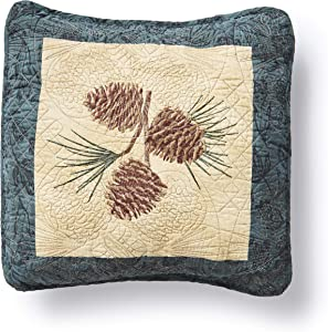 Donna Sharp Throw Pillow - Cabin Raising Pine Cone Lodge Decorative Throw Pillow with Pine Cone Pattern - Square