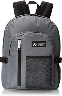 Everest Backpack with Front Mesh Pocket, Dark Gray, One Size