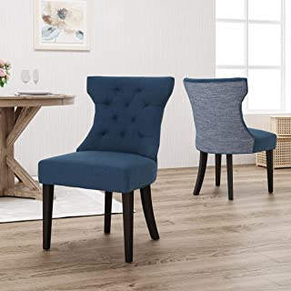 Christopher Knight Home Louis Traditional Two Toned Fabric Dining Chair, Navy Blue Textured