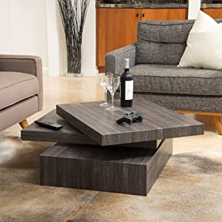 Christopher Knight Home Haring Square Rotating Wood Coffee Table, Black Oak