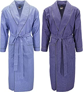 Mens 2 Pack Long Sleep Robe, Premium Cotton Blend Woven...