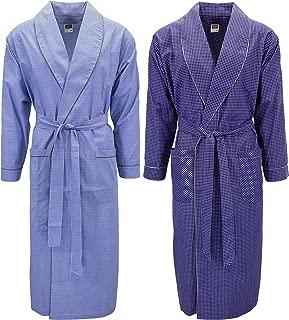 Mens 2 Pack Long Sleep Robe, Premium Cotton Blend Woven Lightweight Bathrobe -Patterns May Vary