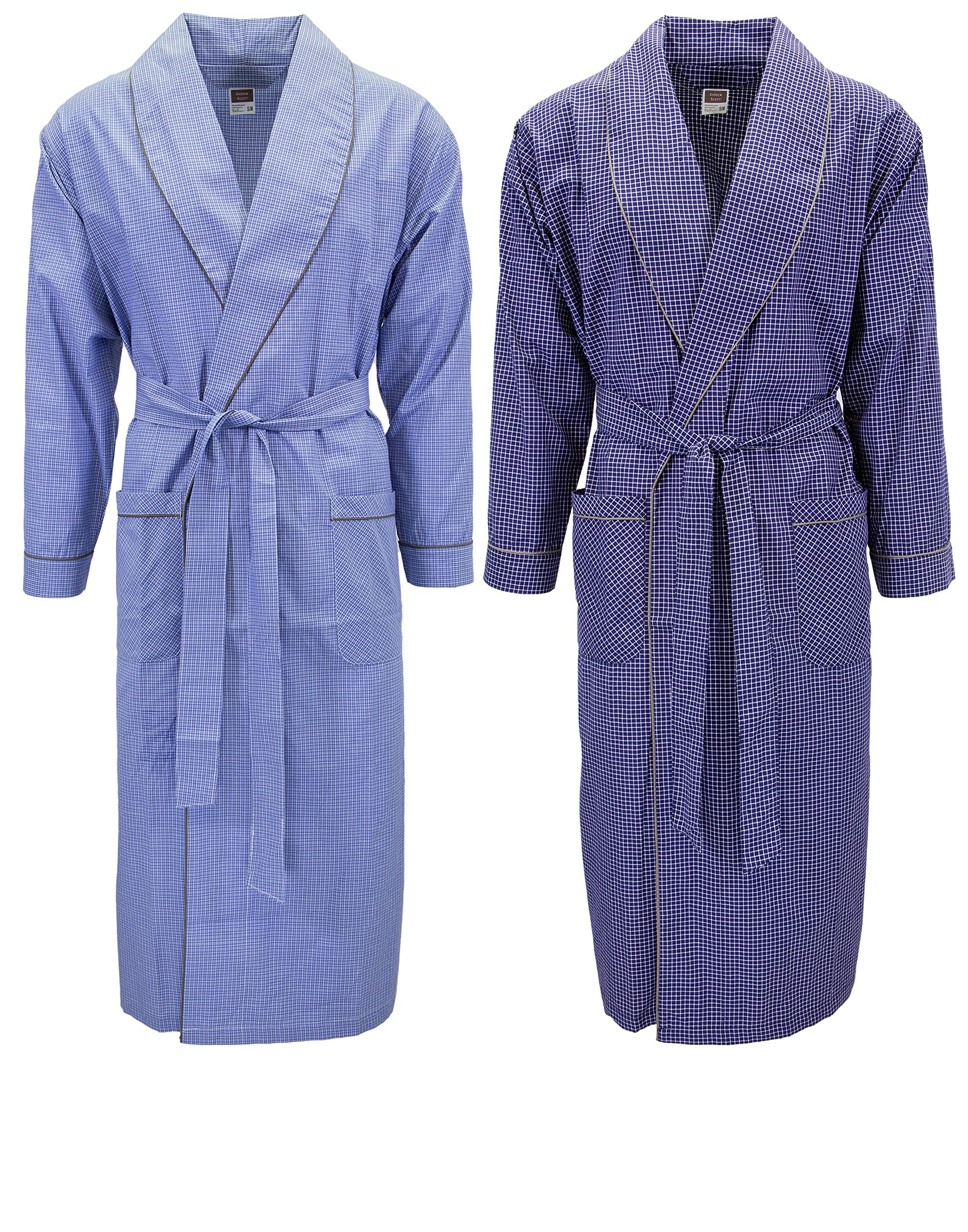 Image of Lightweight Assorted Cotton Robes for Men - 2 Pack
