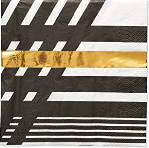 Papyrus Lunch Napkins, Black & Gold Rush (20-Count)