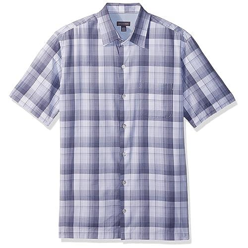 1a40ad6d Van Heusen Men's Textured Cotton Rayon Short Sleeve Shirt