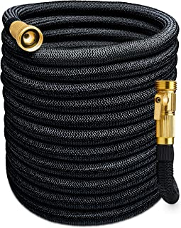 Morvat Expandable Garden Hose, Retractable Water Hose, Coil Hose, Collapsible Hose, Premium Super Strength Fabric 5500D, All Brass Connection with Built-in Quick Shut-Off Valve, 150 FT