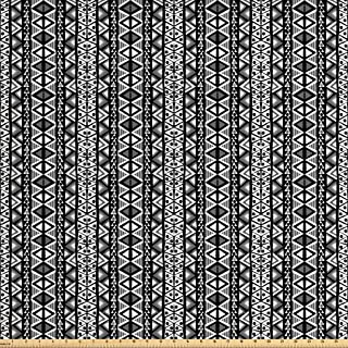 Ambesonne Retro Fabric by The Yard, Boho Pattern in Black and White with Western Native Effects Folk Design, Decorative Fabric for Upholstery and Home Accents, 3 Yards, Black Grey