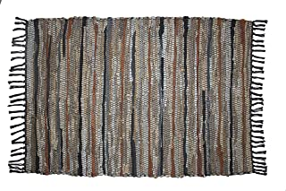 COTTON CRAFT - 100% Leather Chindi Rug 3x5 Feet - Grey Ivory Multi - Hand Woven & Hand Stitched - Strips of Genuine Leather are Woven by Hand to get This Attractive Artisan Look - Fully Reversible