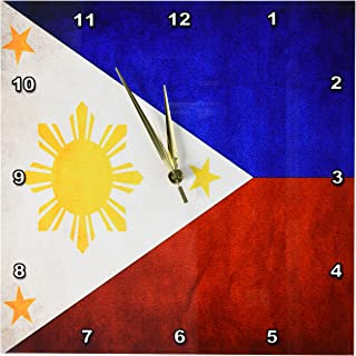 3dRose dpp_28282_2 Philippines Flag Wall Clock, 13 by 13""