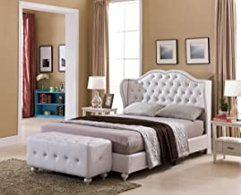 Kings Brand Furniture - White Tufted Design Faux Leather Queen Size Upholstered Platform Bed