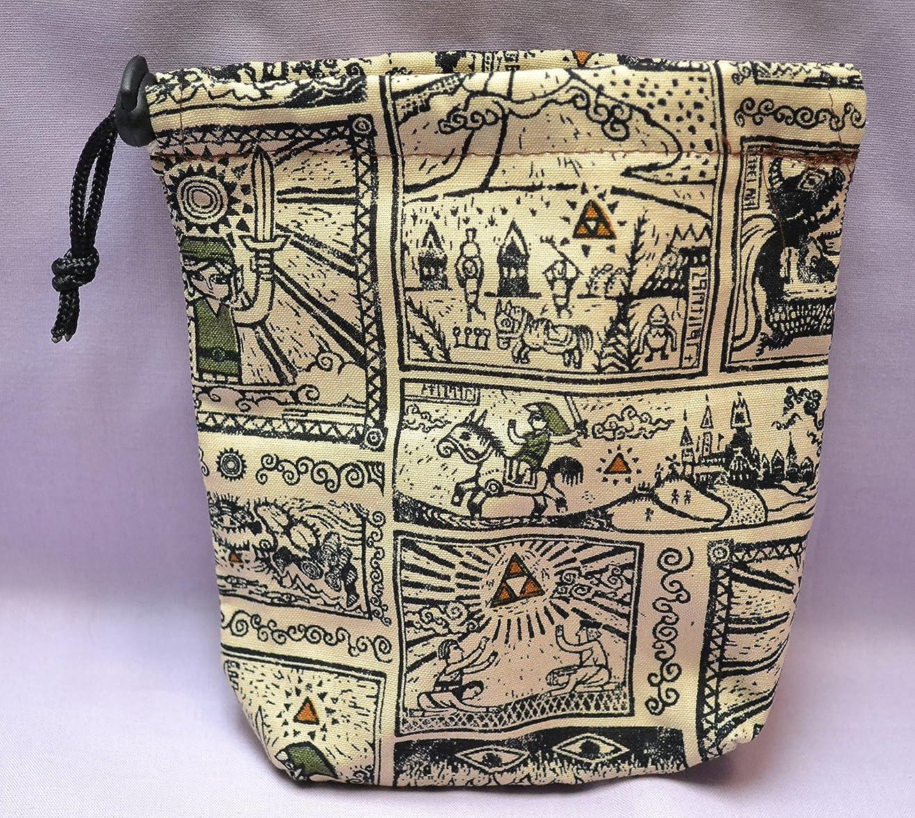Legend of Zelda Link Comic Print Drawstring Cloth Dice Bag