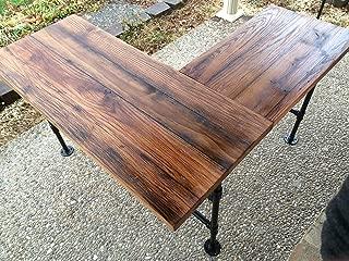 Rustic Reclaimed Barn Wood L Desk Table - Solid Oak W/ 28