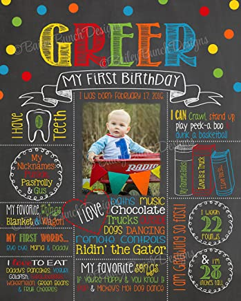 Photo Milestone Birthday Chalkboard, Rainbow, MOUNTED & READY TO BE DISPLAYED or Print to