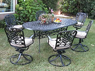 3896633f95c0 Outdoor Cast Aluminum Patio Furniture 7 Piece Dining Set F with 6 Swivel  Chairs Cbm1290