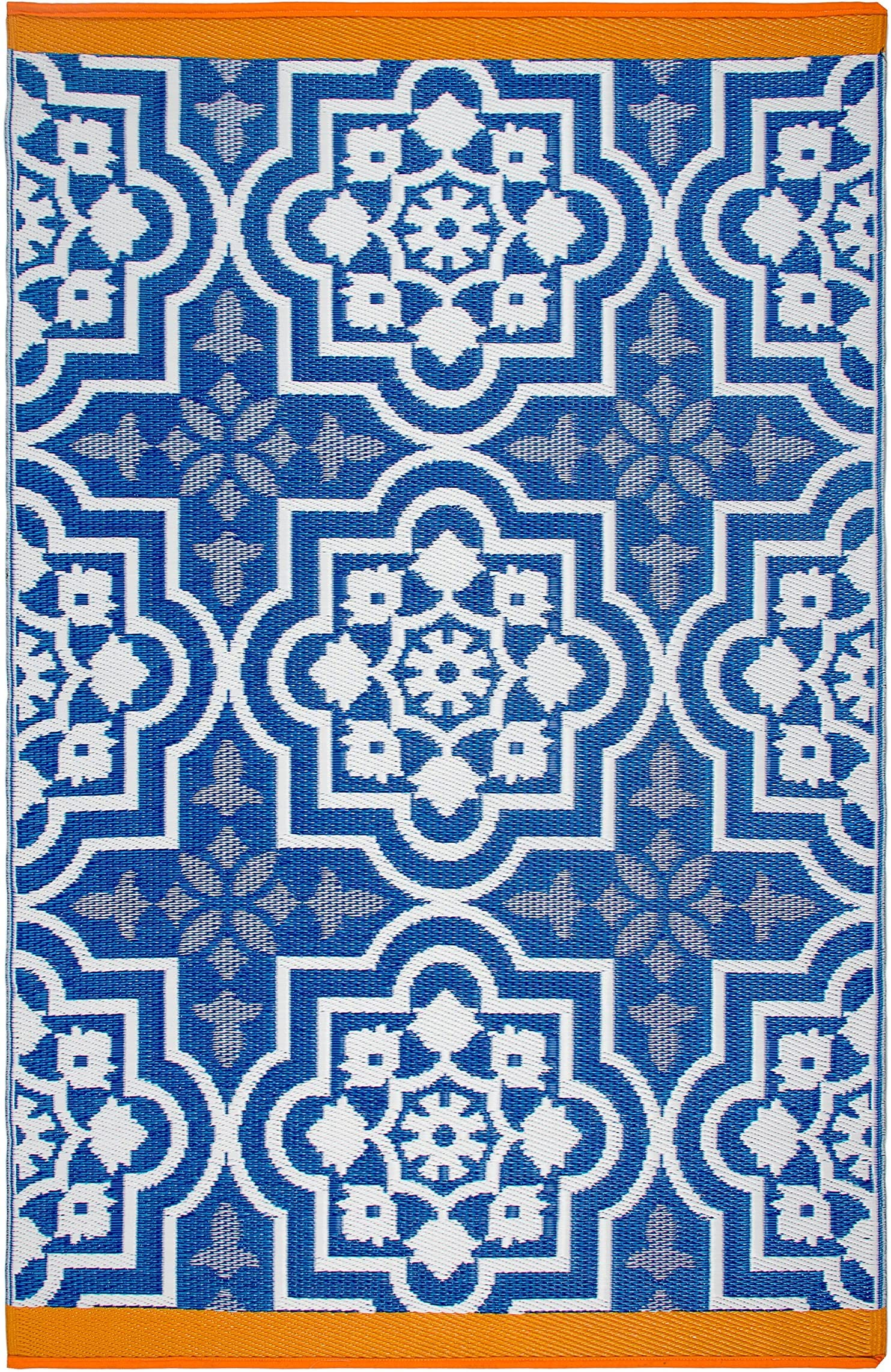 Fab Habitat Reversible Rugs | Indoor or Outdoor Use | Stain Resistant, Easy to Clean Weather Resistant Floor Mats | Puebla - Blue, 6' x 9'