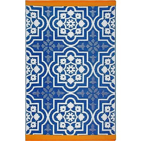 Fab Habitat Reversible Rugs   Indoor or Outdoor Use   Stain Resistant, Easy to Clean Weather Resistant Floor Mats   Puebla - Blue, 5' x 8'