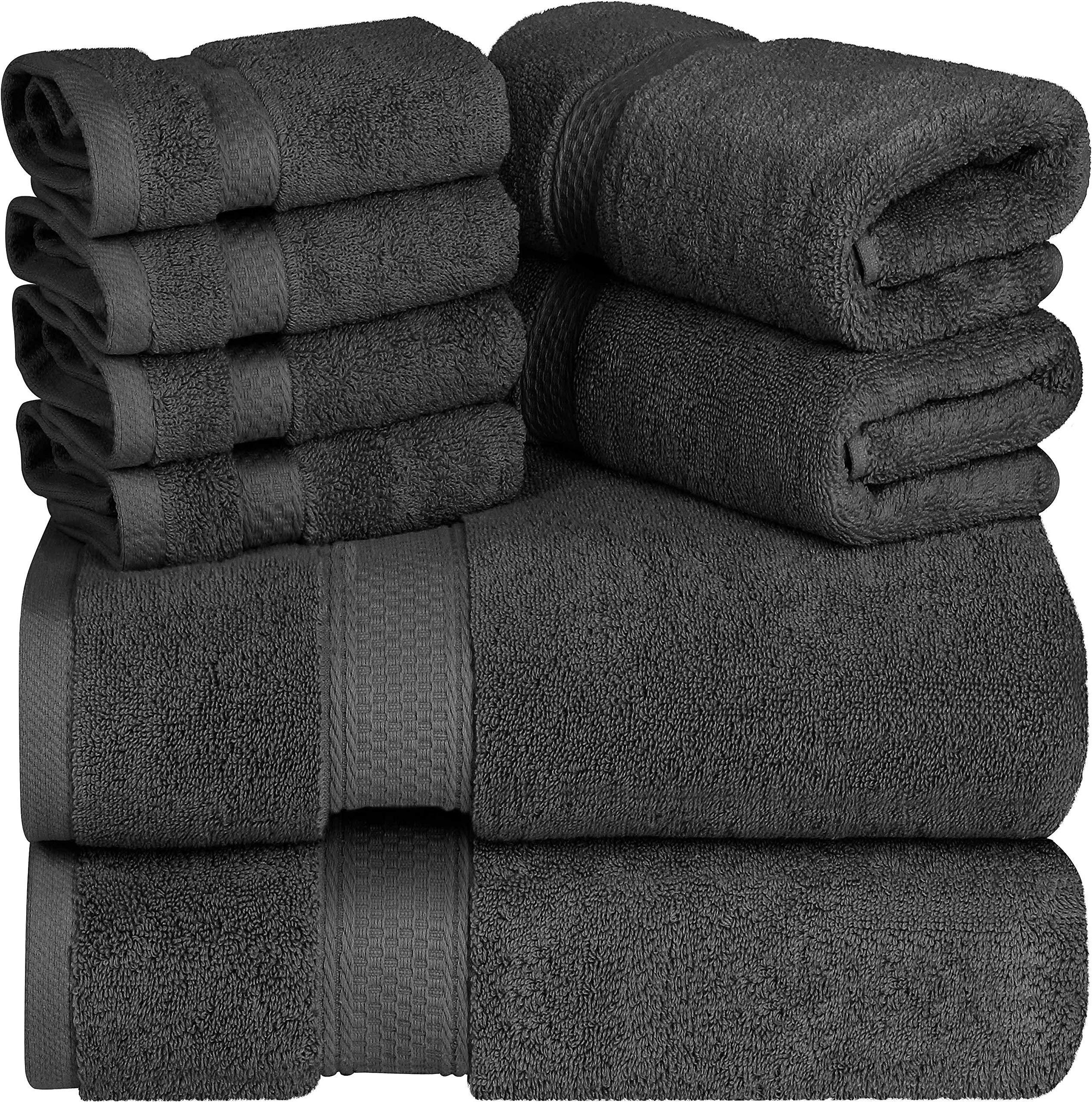 Utopia Towels - 700 GSM Juego de toallas de 8 piezas; 2 toallas de baño, 2 toallas de mano y 4 paños de ducha - Algodón - Lavable a máquina, calidad del hotel (gris): Amazon.es: Hogar