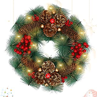 LessMo Décoration de Guirlande de Noël, Ornement de Guirlande de Noël avec 30 Lumières LED, Couronnes de Noël Artificielle...