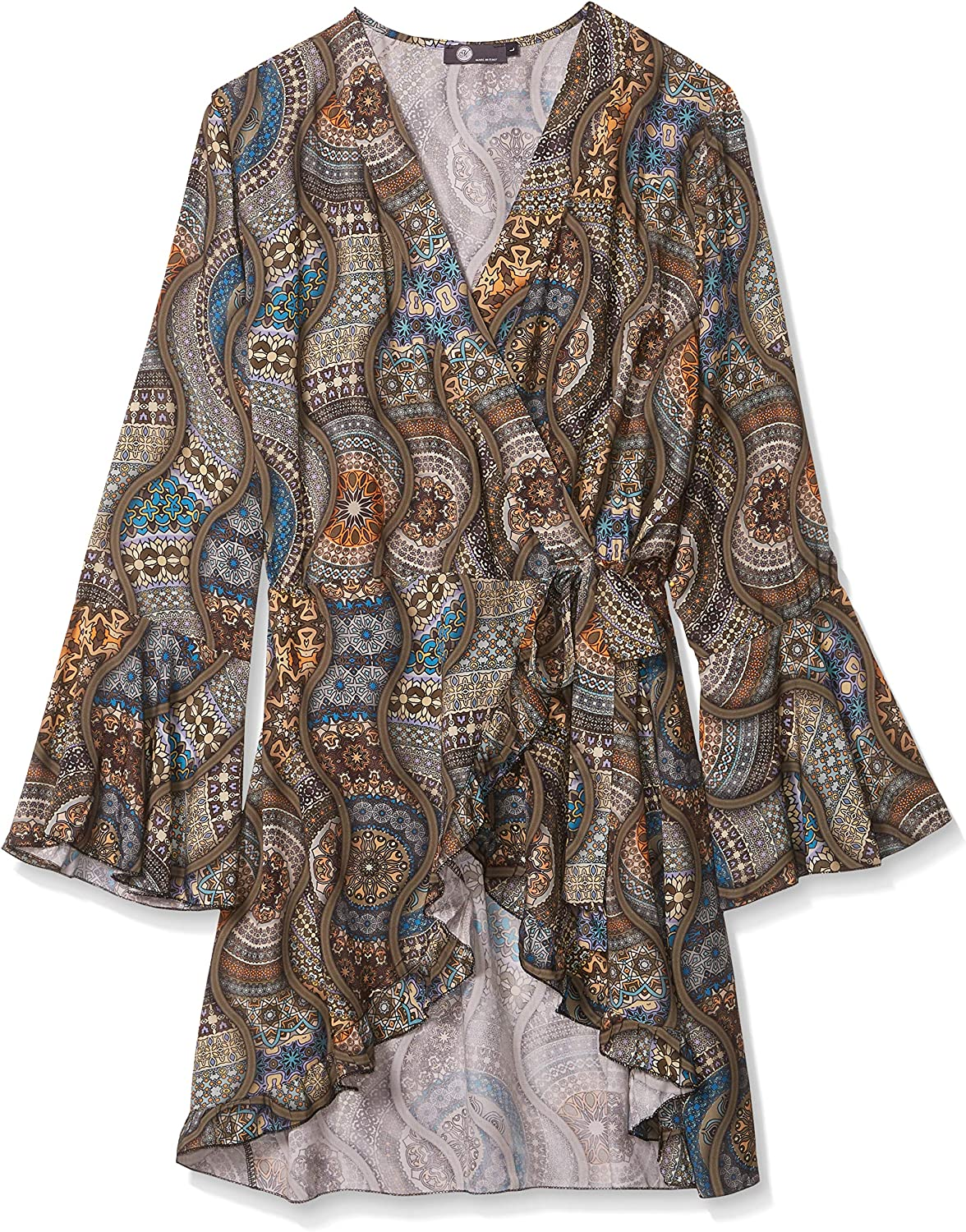 M Made in Italy womens Wrap Tunic With Ruffle Sleeve and All Over Print