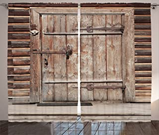 Ambesonne Rustic Curtains, Timber Rustic Door in Wall of an Old Log House Abandoned Building Entrance Gate, Living Room Bedroom Window Drapes 2 Panel Set, 108