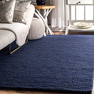 nuLOOM 200CB01C-508 Caryatid Handwoven Solid Wool Rug, 5' x 8', Navy