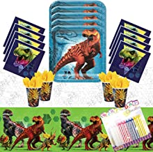Jurassic World Party Supplies Pack Serves 16: Dinner Plates Luncheon Napkins Cups and Table Cover with Birthday Candles (Bundle for 16)