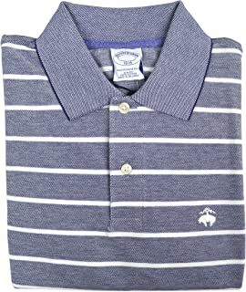 Men's Slim Fit Performance Striped Polo Shirt Chambray Blue (Large)