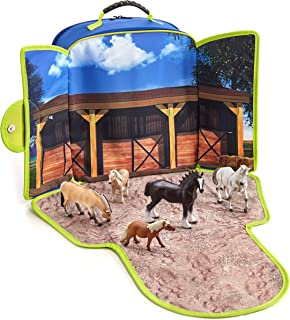 MOJO Horse Stable Backpack Playset with 5 Horses: Shire Horse, Welsh Pony, Fjord Horse, Shetland Pony, Andalusian Grey