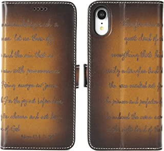 iPulse Bible for iPhone XR Vegetable Tanned Full Grain Leather Case Flip Wallet Case for Apple iPhone XR/10R (2018) with Magnetic Closure - Retro Cognac