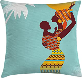 Ambesonne African Throw Pillow Cushion Cover, Mother with Her Baby in Clothes Retro Style Fashion Image, Decorative Square Accent Pillow Case, 18